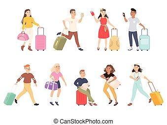turisti, mwn, bagaglio, portante, persone, illustrazione, aeroporto, vacanza, viaggio, set, biglietti, aereo, andare, cartone animato, vettore, donne, viaggio, o