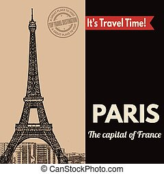 turistico, parigi, retro, manifesto