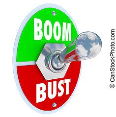 turno, busto, boom, interruttore, leva articolata, economia, successo, spento, vs