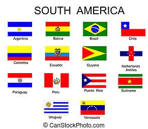 tutto, america, bandiere, paesi, sud, elenco