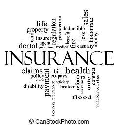 tutto, concetto, parola, nero, assicurazione, nuvola