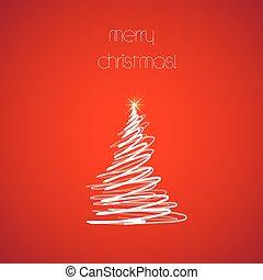 tutto, fondo, editable, albero, facile, natale, rosso