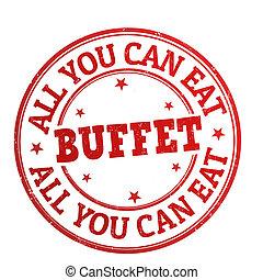 tutto, francobollo, buffet, lattina, lei, mangiare