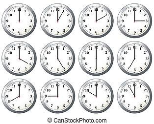 tutto, orologio, ufficio, volte