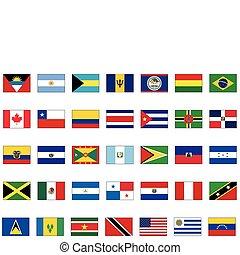 tutto, set, americano, countries.