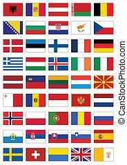 tutto, set, bandiera, countries., europeo