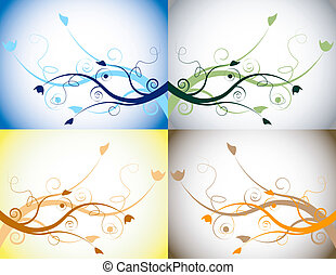 tutto, set, quattro elementi, floreale, stagioni, descrivere