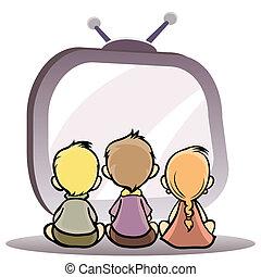 tv, bambini, osservare