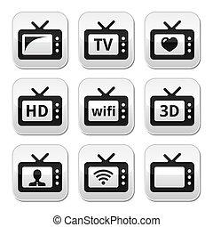 tv, bottoni, set, 3d, vettore, hd