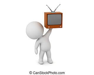 tv, carattere, su, retro, presa a terra, piccolo, 3d