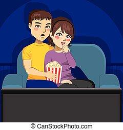 tv, coppia, osservare, notte