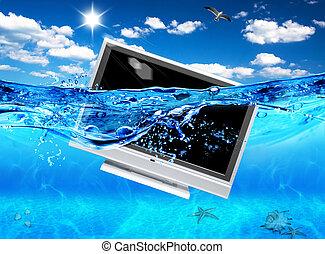 tv, electronics., ecologico, disegno, sea.