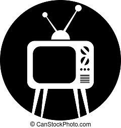 tv, icon., set, retro, vettore