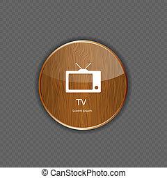 tv, legno, icone, domanda