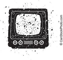 tv, retro, illustrazione, set, grungy, vettore