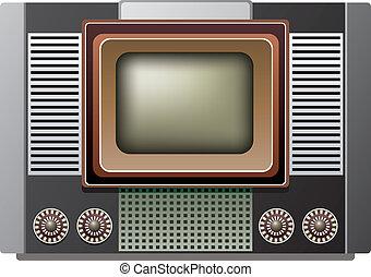 tv, retro, illustrazione, set, vettore, grande