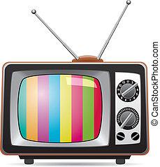 tv, retro, illustrazione, set, vettore