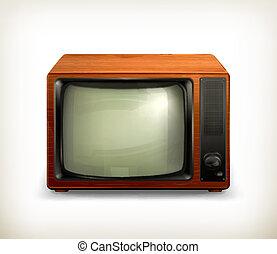 tv, retro, set, vettore