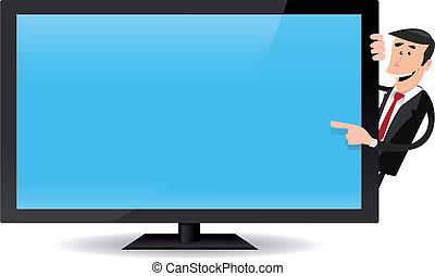 tv, schermo piatto, indicare, uomo