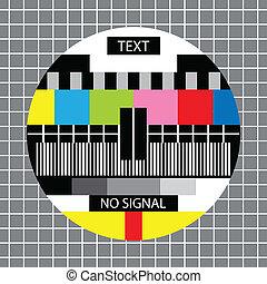 tv, segnale, monoscope, no