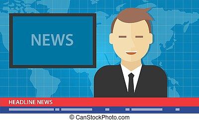 tv, titolo, uomo, notizie ancorano, rottura