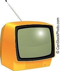 tv, vendemmia, isolato
