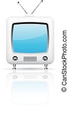 tv, vettore, retro, illustrazione