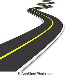 twisty, 3d, reso, illustration., road.