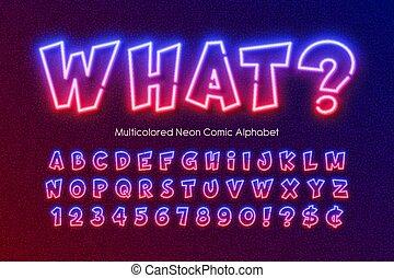 type., neon, variopinto, stile, alfabeto, extra, comico, luce ardente
