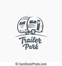 typography., template., roulotte, silhouette, vettore, furgone, o, logotipo, turismo, icon., retro, etichetta, parco