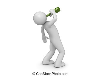 ubriaco, verde, bottiglia, uomo