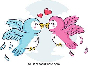 uccelli, amore, baciare