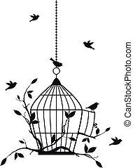 uccelli, vettore, libero