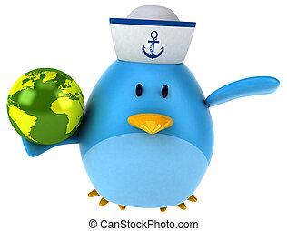 uccello blu, 3d, illustrazione, -