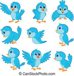 uccello blu, cartone animato, carino
