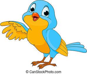 uccello, carino, cartone animato
