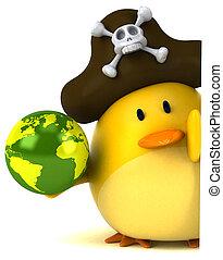 uccello giallo, 3d, illustrazione, -