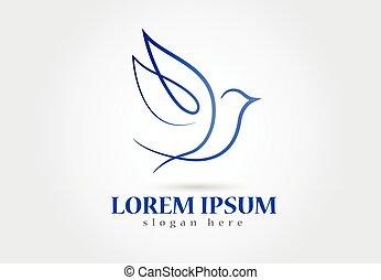 uccello, logotipo, colomba