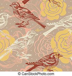uccello, modello, seamless, floreale
