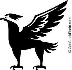 uccello, phoenix, silhouette