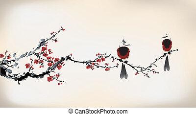 uccello, pittura