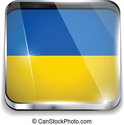 ucraina, smartphone, bottoni, domanda, bandiera, quadrato