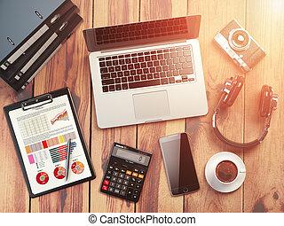 ufficio affari, calcolatore, legno, tabelle, caffè, fondo, laptop, workplace., mobile, macchina fotografica, loudspeakers., telefono, digitale, workspace., scrivania, raccoglitori