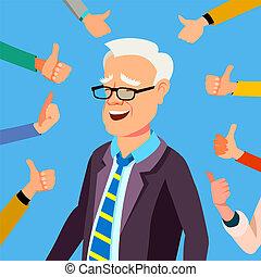 ufficio affari, mostra, su, illustrazione, gesture., uomo affari, pollici, vector., worker., professionale, approvazione, respect., pubblico