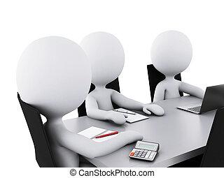 ufficio affari, persone, room., riunione, 3d