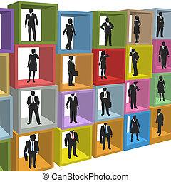 ufficio affari, persone, scatole, cubicolo, risorse