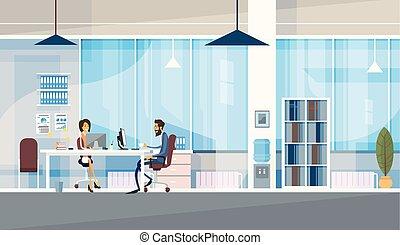 ufficio, affari, seduta, persone, co-working, insieme, centro, lavorativo, creativo, scrivania