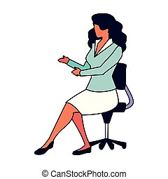 ufficio, bianco, donna d'affari, sedia, seduta, fondo