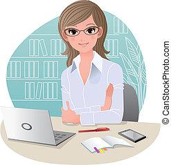 ufficio, carino, affari donna