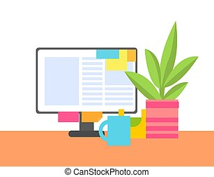 ufficio, colorare, astratto, illustrazione, vettore, interno